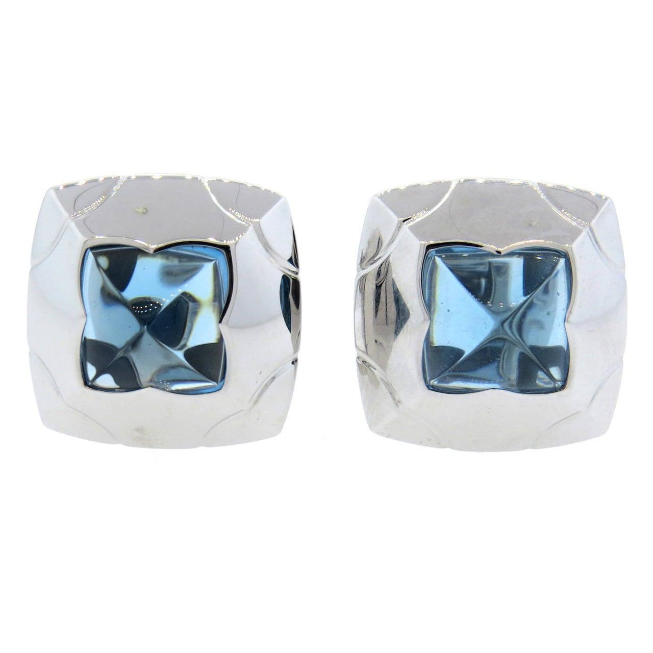 Bulgari Piramide Gold Blue Topaz Earrings