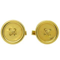 Tiffany & Co. Gold Large Button Cufflinks