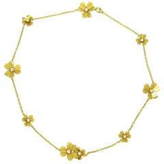 Van Cleef & Arpels Frivole Nine Motif Diamond Gold Necklace