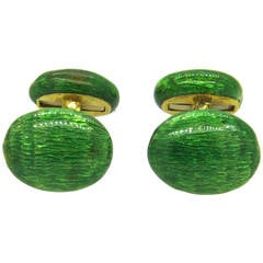 Green Enamel Gold Cufflinks
