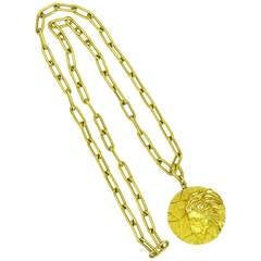 Tiffany & Co. Gold Zodiac Sign Leo Pendant Chain Necklace