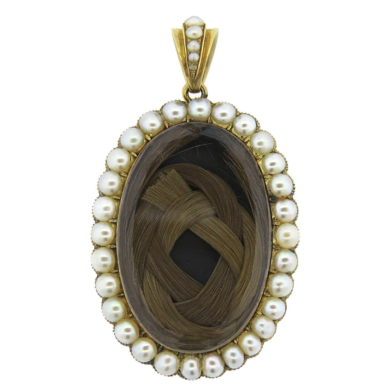 Antique Victorian Crystal Pearl Gold Hair Locket Pendant