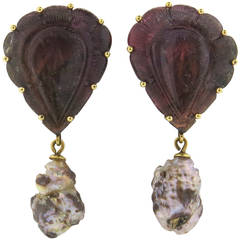 Stephen Dweck Carved Tourmaline Strawberry Pearl Gold Earrings