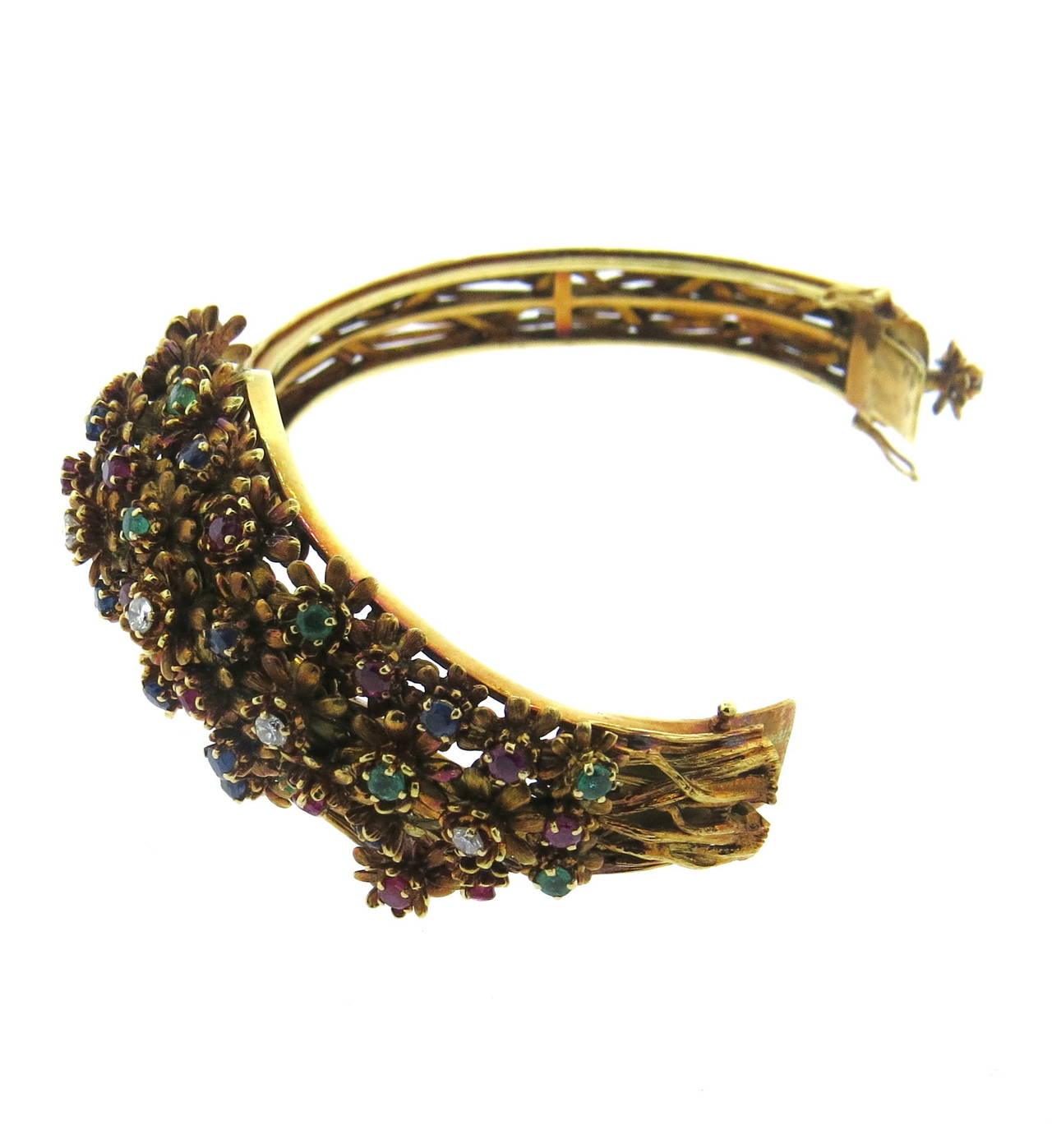 Zolotas Gold Diamond Emerald Sapphire Ruby Flower Bangle Bracelet In Excellent Condition For Sale In Lahaska, PA
