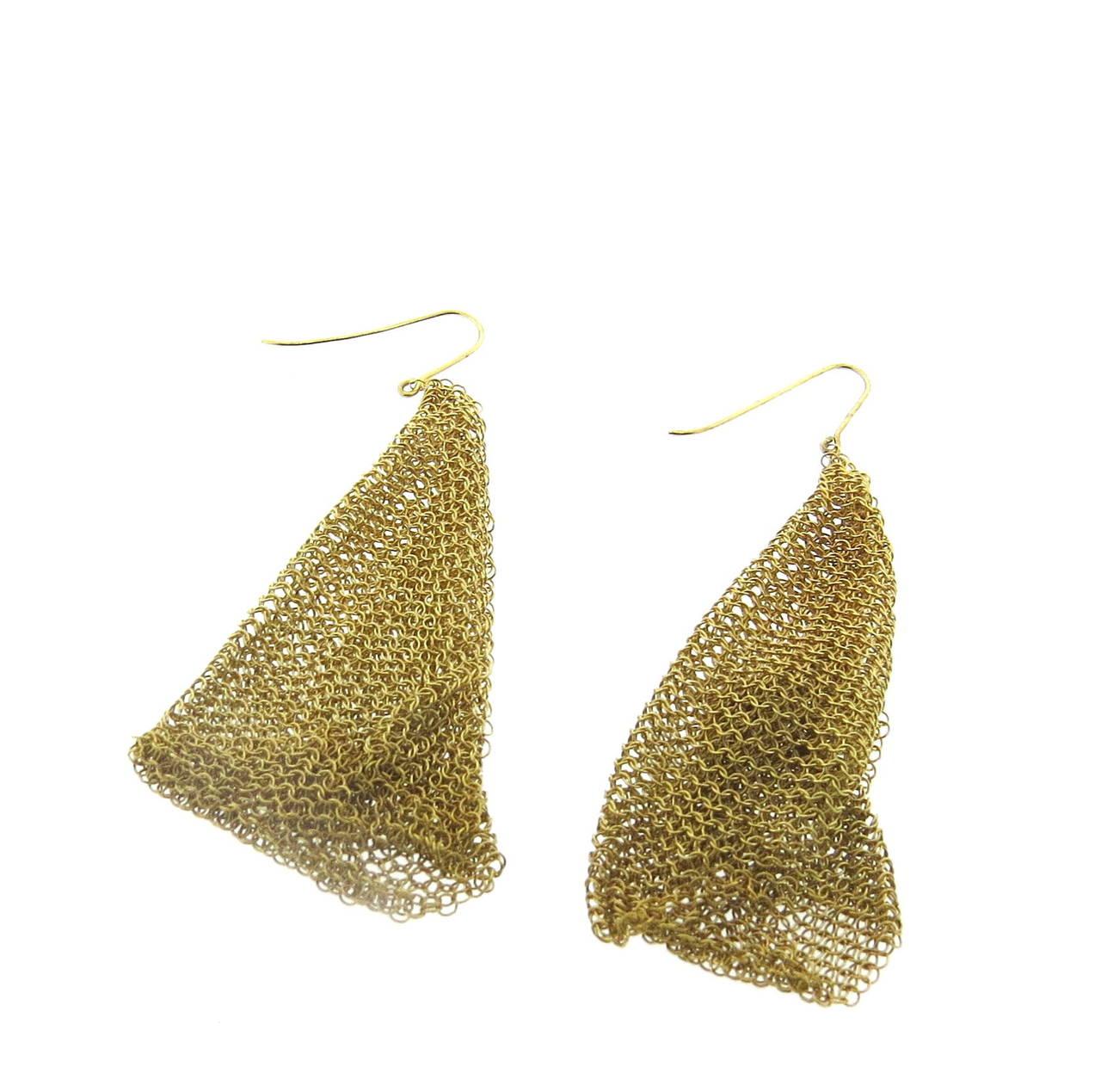Tiffany & Co. Elsa Peretti Gold Mesh Scarf Long Earrings 2