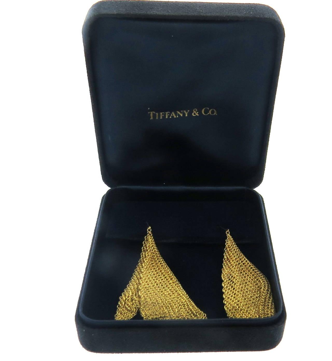 Tiffany & Co. Elsa Peretti Gold Mesh Scarf Long Earrings 3