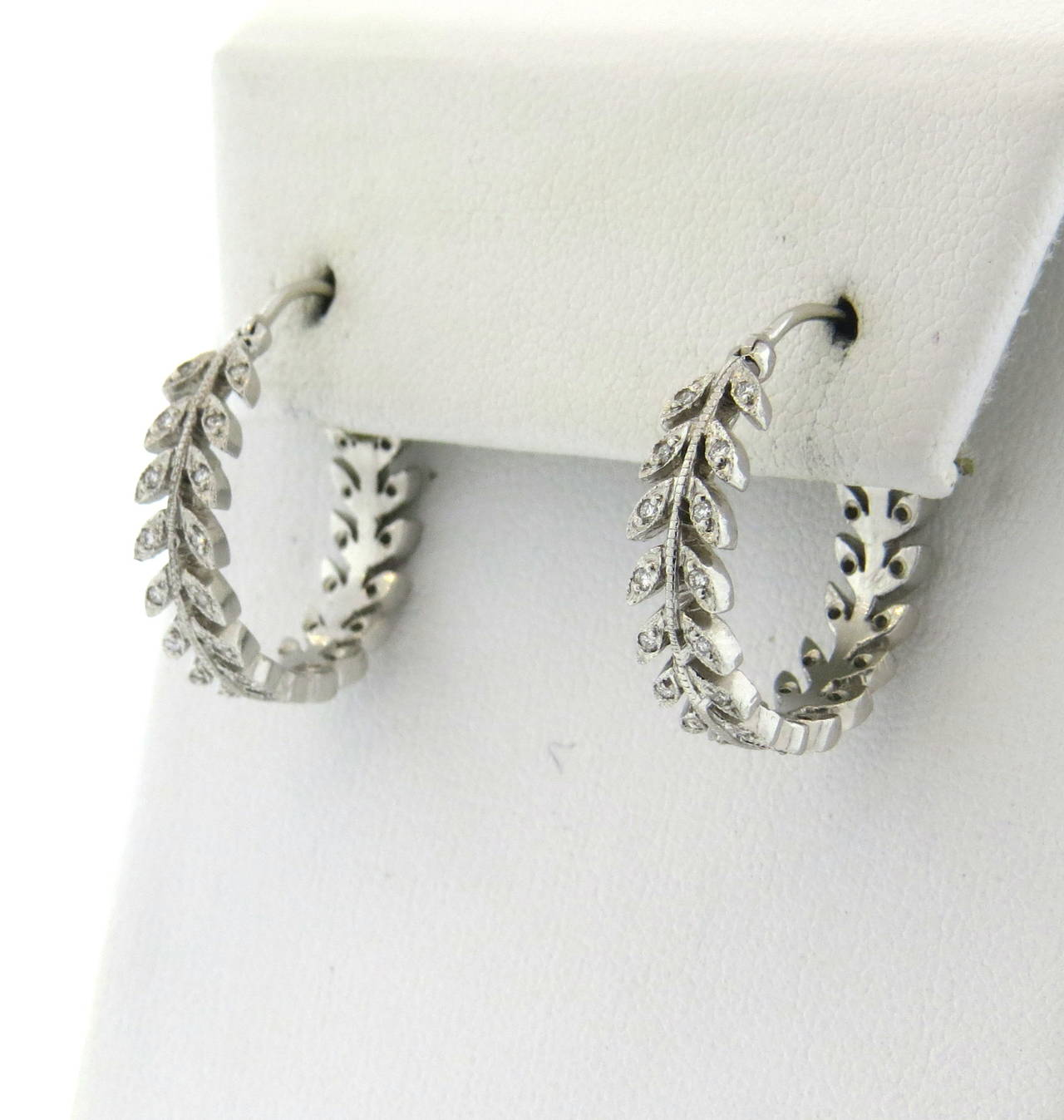333a18dae2bcc Platinum Hoop Earrings Robert Procop Platinum Square And Baguette ...