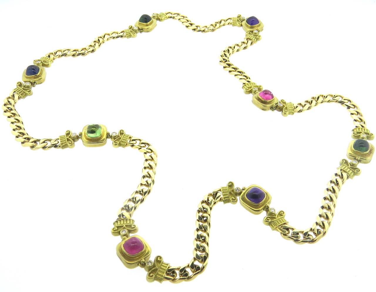 impressive multicolor gemstone station chain
