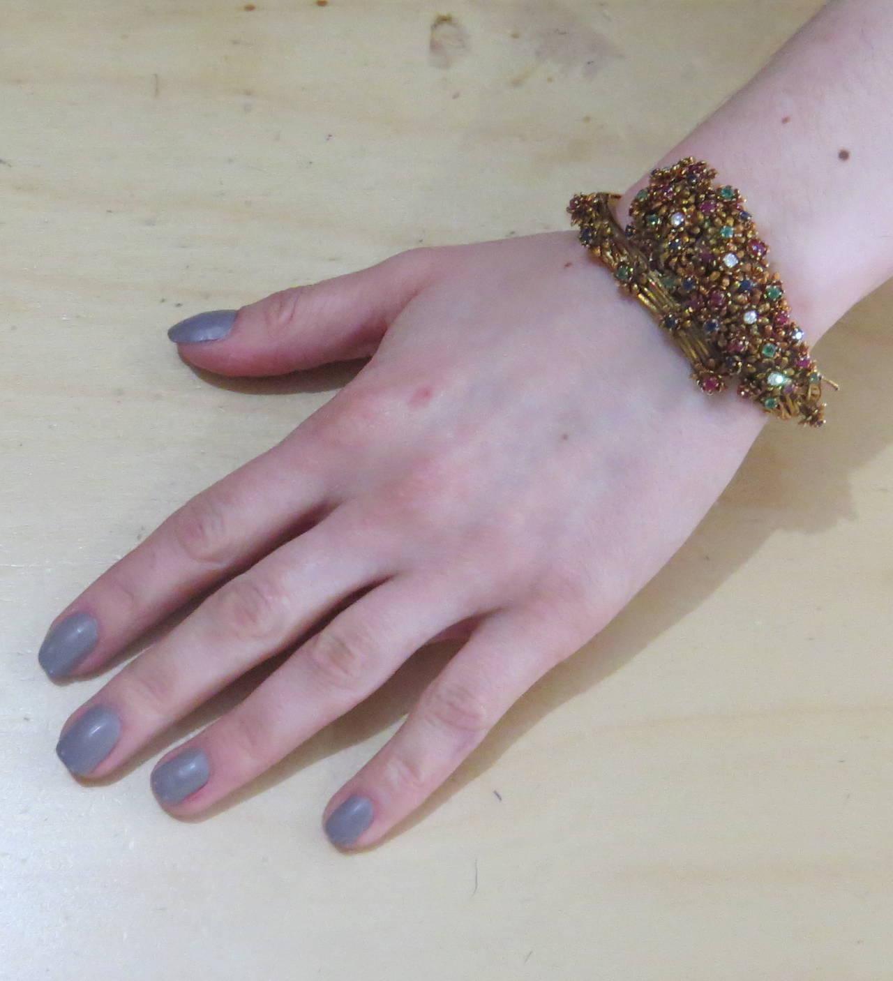 Women's Zolotas Gold Diamond Emerald Sapphire Ruby Flower Bangle Bracelet For Sale