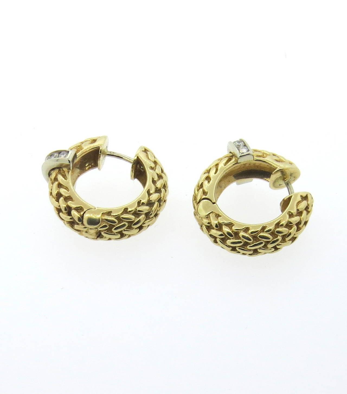 1980s gold basket weave hoop earrings at 1stdibs