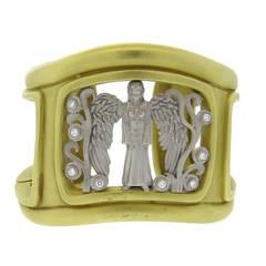 Rare Massive Kieselstein Cord Diamond Gold Angel in My Window Bracelet