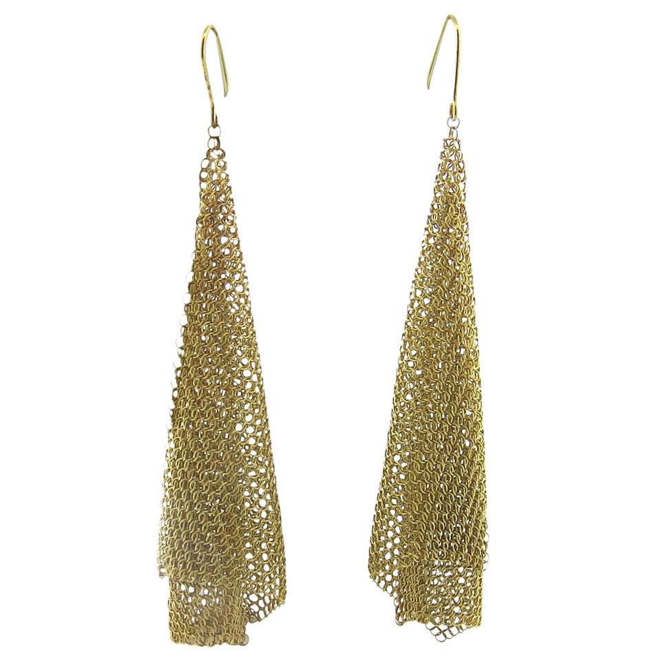 Tiffany & Co. Elsa Peretti Gold Mesh Scarf Long Earrings 1