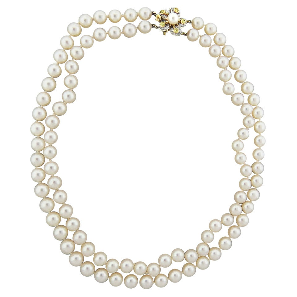Tiffany & Co. Classics Pearl Diamond Gold Platinum Necklace