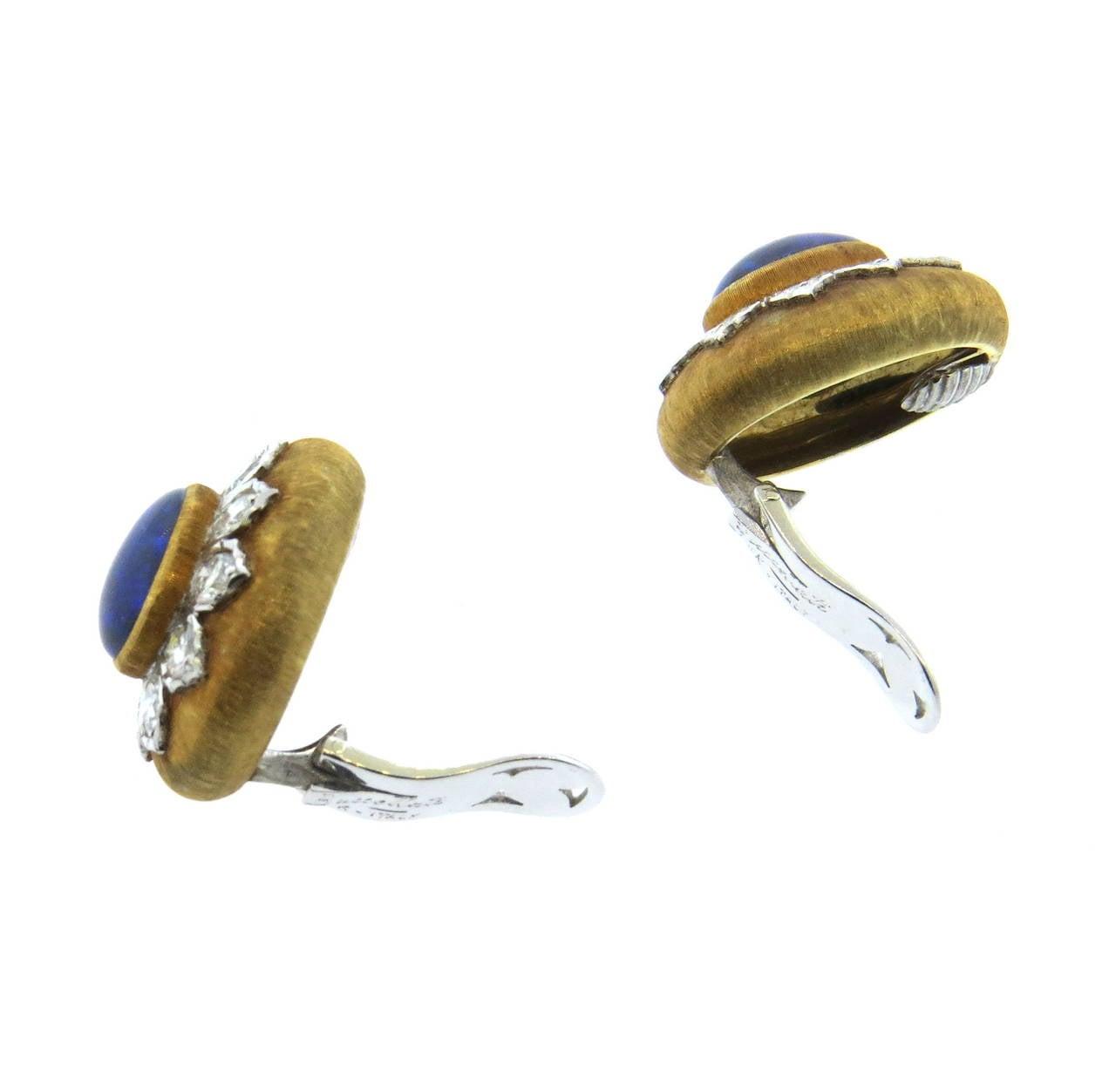 buccellati black opal diamond gold earrings at 1stdibs
