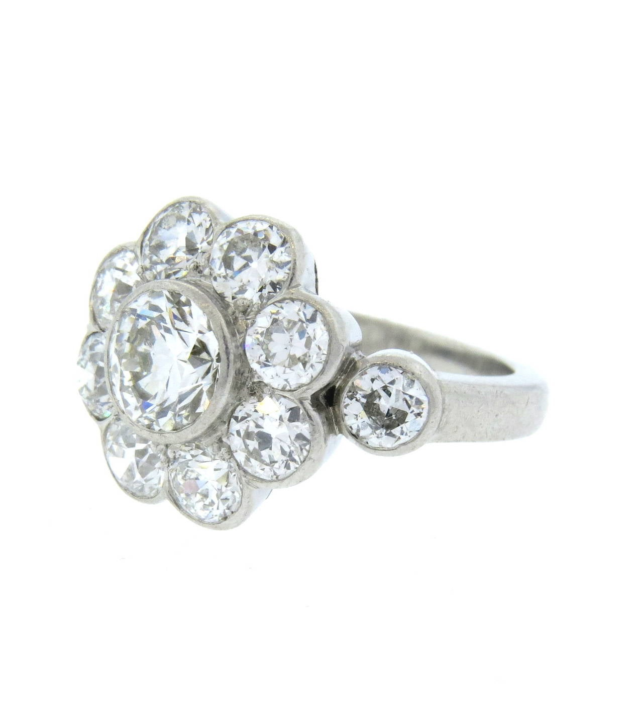 Diamond Platinum Flower Cluster Ring at 1stdibs