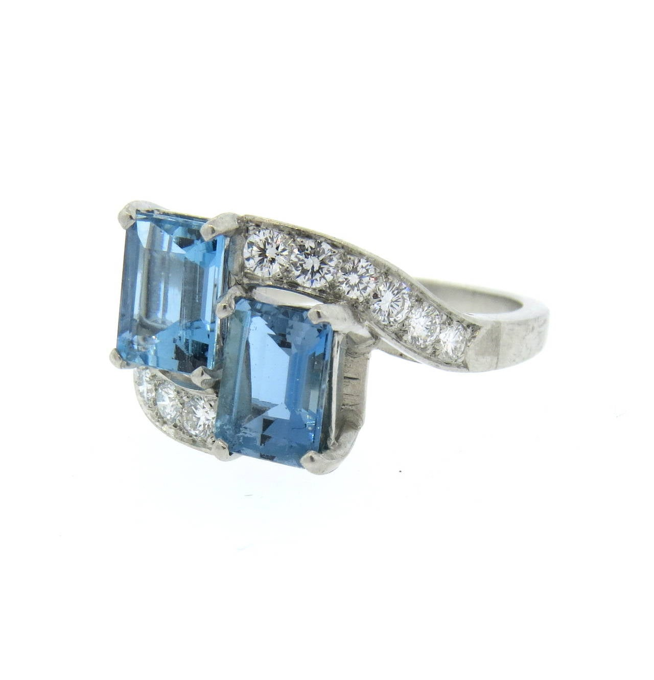 aquamarine platinum ring at 1stdibs
