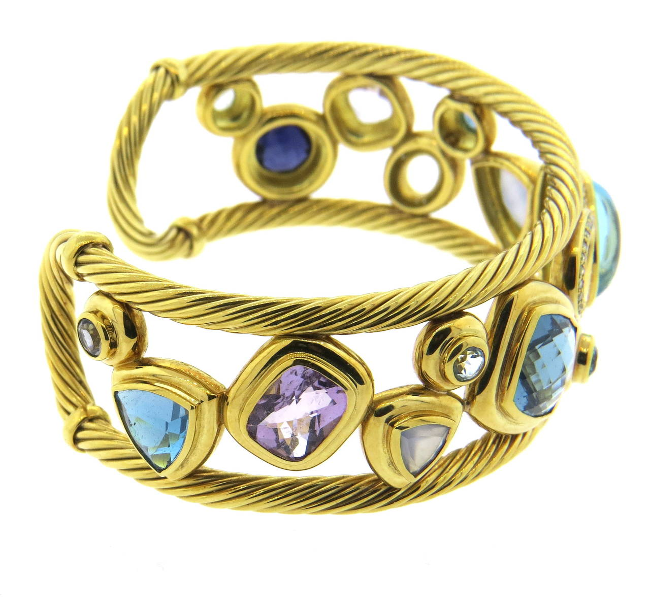 David Yurman Mosaic Gemstone Diamond Gold Cuff Bracelet At