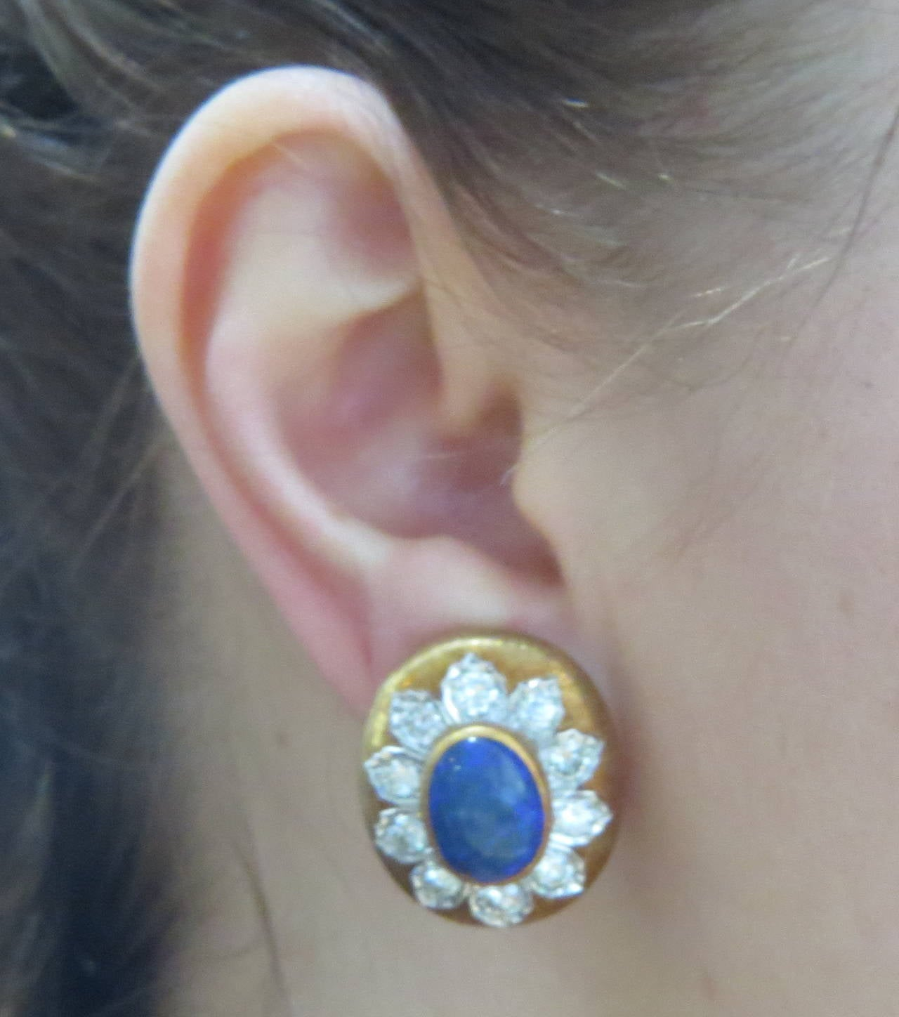 Buccellati Black Opal Diamond Gold Earrings 4