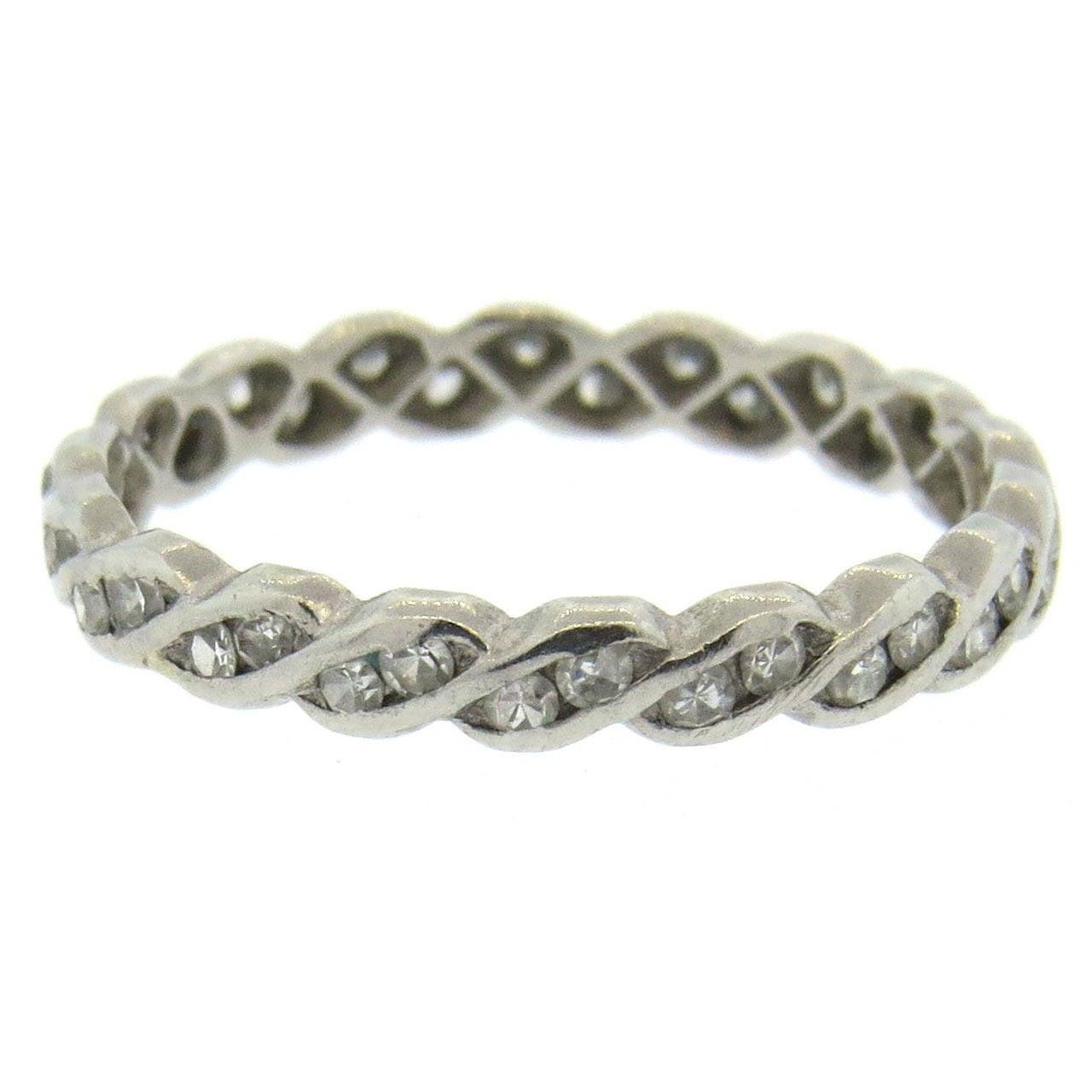 antique deco platinum eternity band ring at