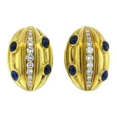 Diamond Sapphire Gold Earrings
