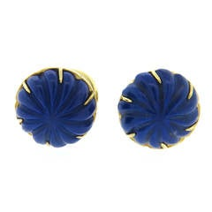 Tiffany & Co Carved Lapis Lazuli Gold Cufflinks