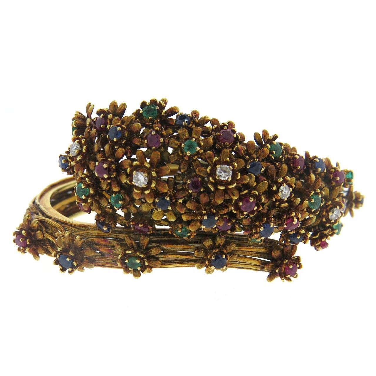 Zolotas Gold Diamond Emerald Sapphire Ruby Flower Bangle Bracelet For Sale