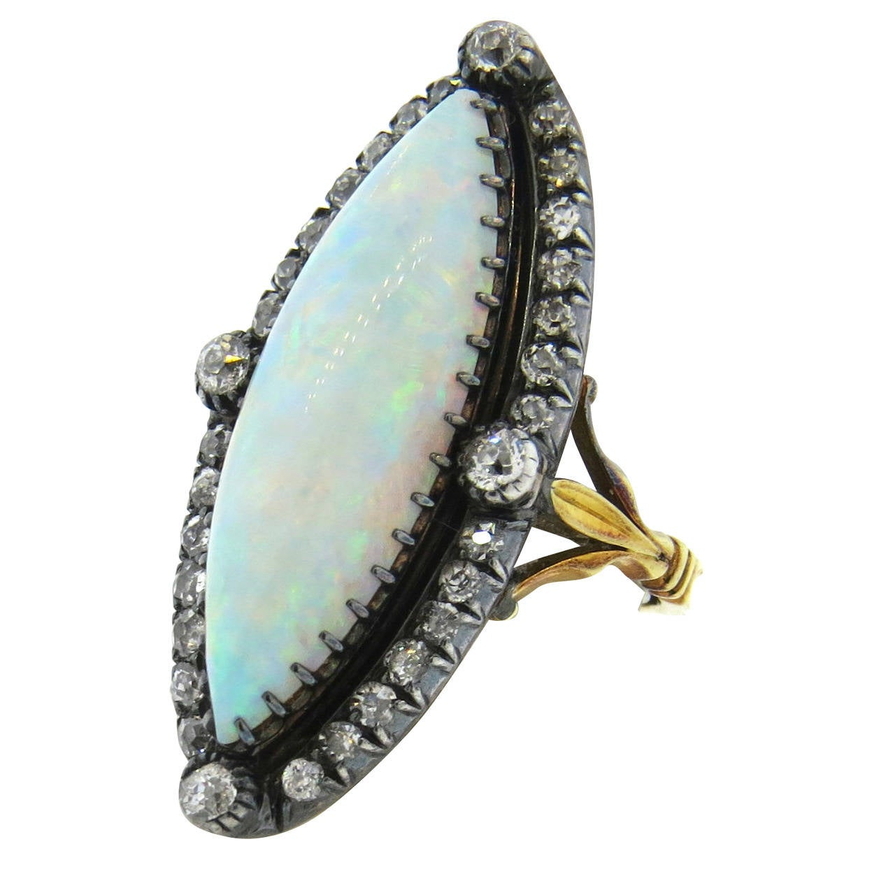 Antique Gold and Silver Opal Diamond Ring