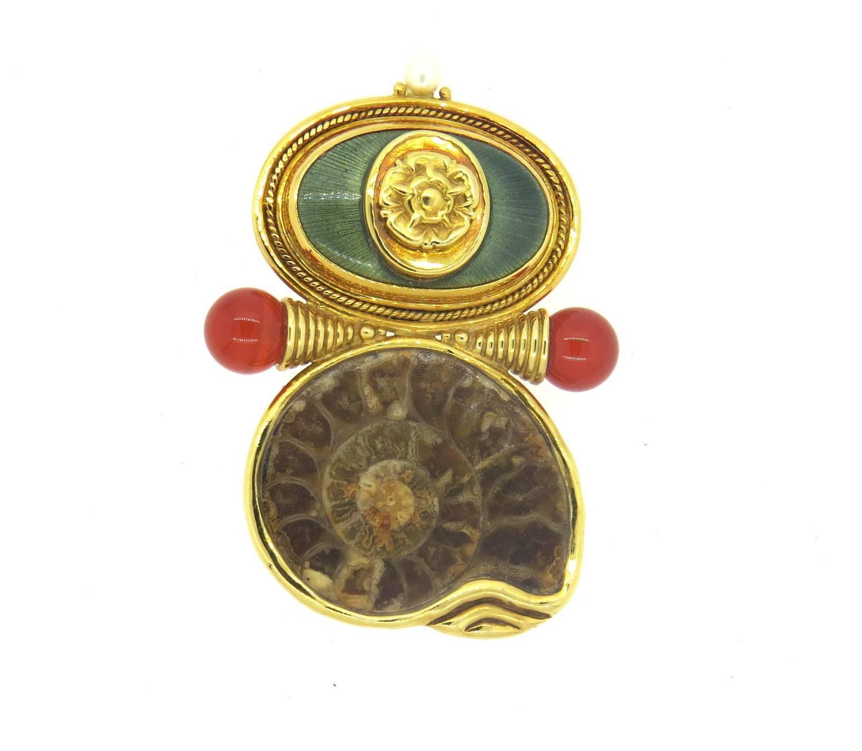 Elizabeth Gage Gold Carnelian Pearl Fossilized Shell