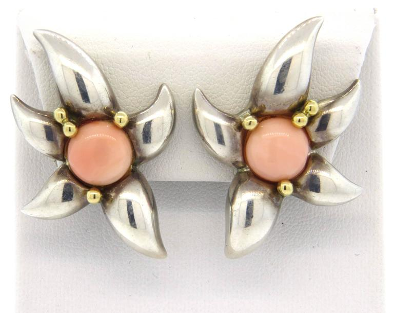 1990s Tiffany & Co. Large Coral Sterling Gold Earrings  5