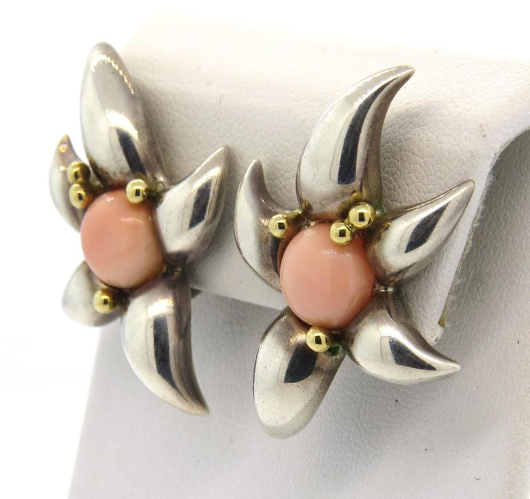 1990s Tiffany & Co. Large Coral Sterling Gold Earrings  4