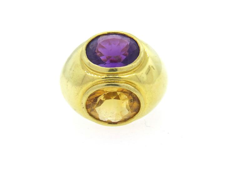 ed92eb0c5 Tiffany & Co. Paloma Picasso Amethyst Citrine Gold Large Dome Ring In  Excellent Condition For