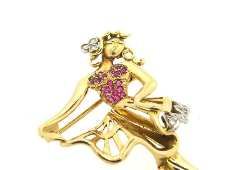 Retro Whimsical Ruby Diamond Gold Dancing Ballerina Brooch Pin  4