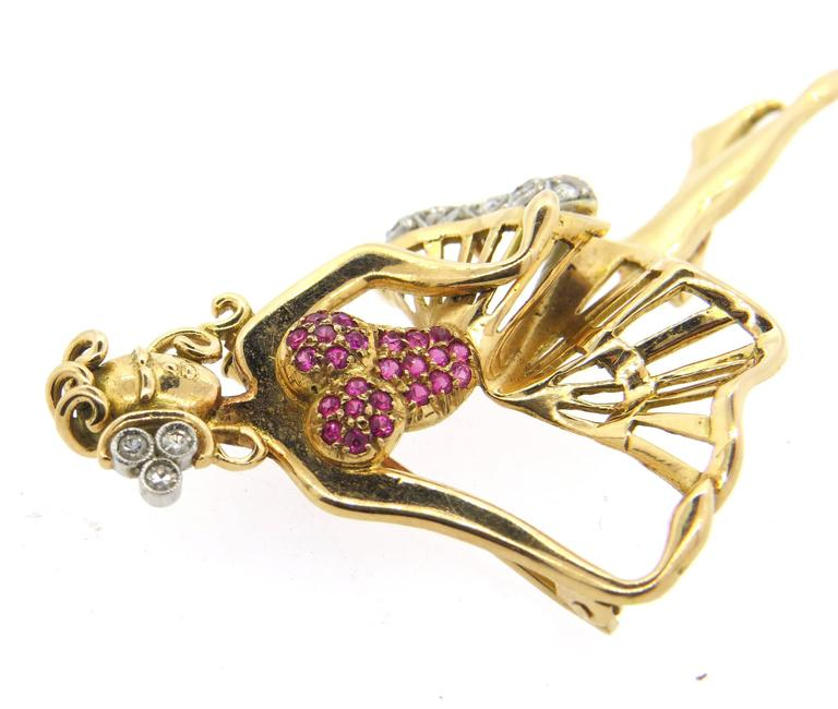 Retro Whimsical Ruby Diamond Gold Dancing Ballerina Brooch Pin  5
