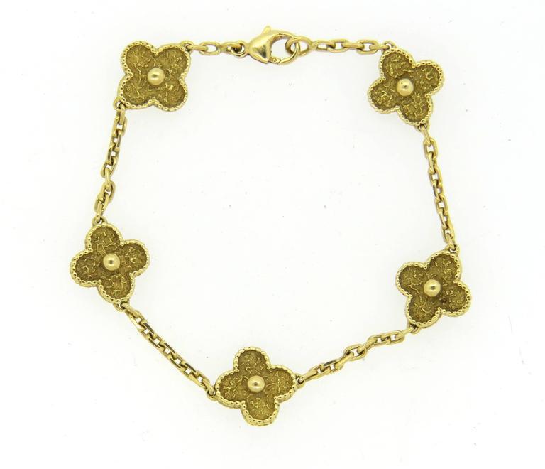Van Cleef & Arpels Vintage Alhambra Gold Bracelet  4