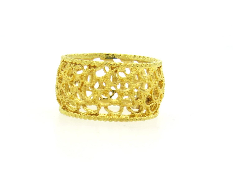 buccellati filidoro gold wide band ring at 1stdibs