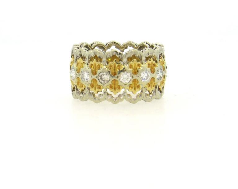 Buccellati Diamond Gold Wide Band Ring  2