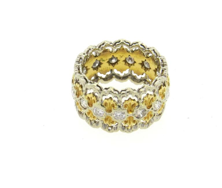 Buccellati Diamond Gold Wide Band Ring  3