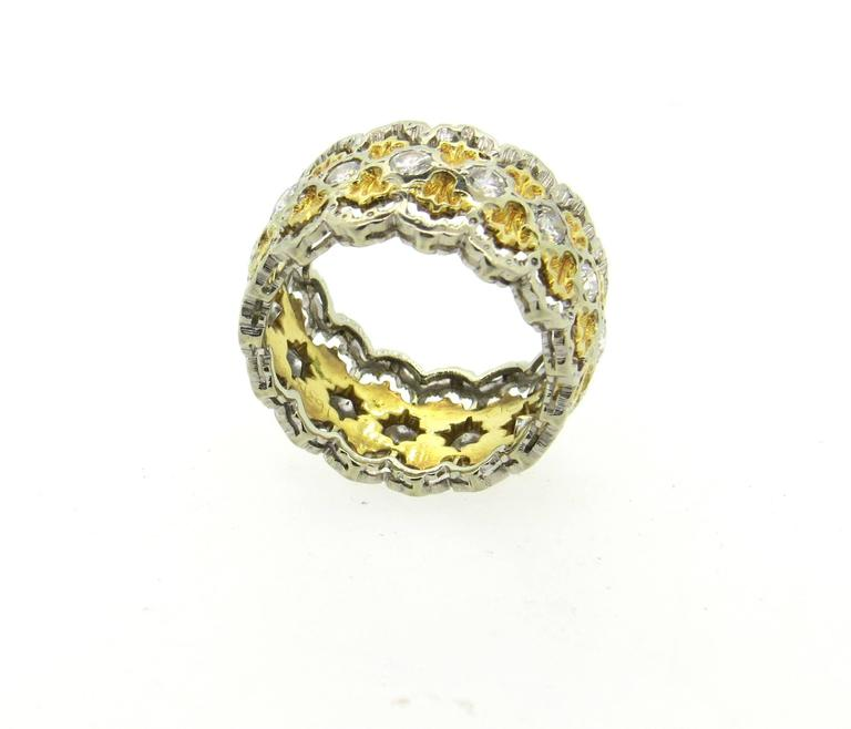 Women's Buccellati Diamond Gold Wide Band Ring  For Sale