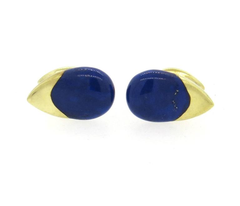 Lapis Lazuli Inlay Gold Cufflinks In Excellent Condition For Sale In Boca Raton, FL