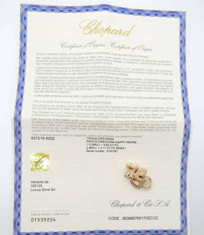Chopard Happy Amore Floating Diamond Gold Heart Earrings In Excellent Condition For Sale In Lahaska, PA