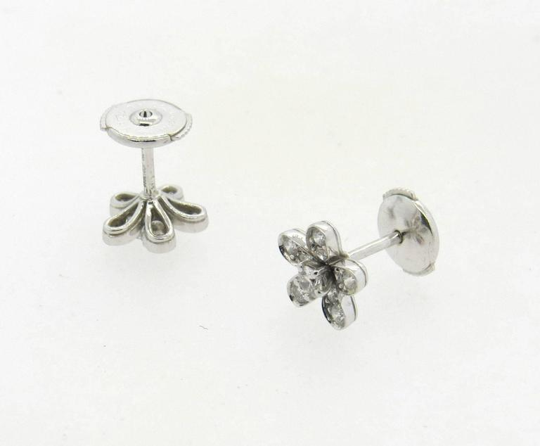 54dbb67dd529b Van Cleef   Arpels Socrate Diamond Gold Flower Stud Earrings In Excellent  Condition For Sale In