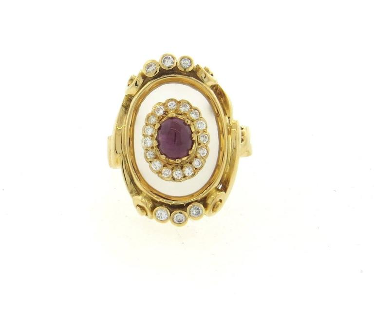 Ilias Lalaounis Frosted Crystal Ruby Diamond Gold Ring  In Excellent Condition For Sale In Lahaska, PA