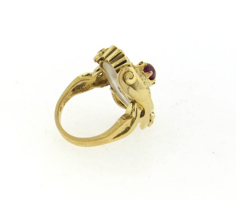 Ilias Lalaounis Frosted Crystal Ruby Diamond Gold Ring  For Sale 1