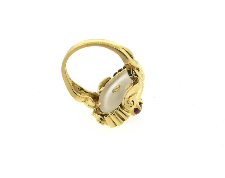 Women's Ilias Lalaounis Frosted Crystal Ruby Diamond Gold Ring  For Sale