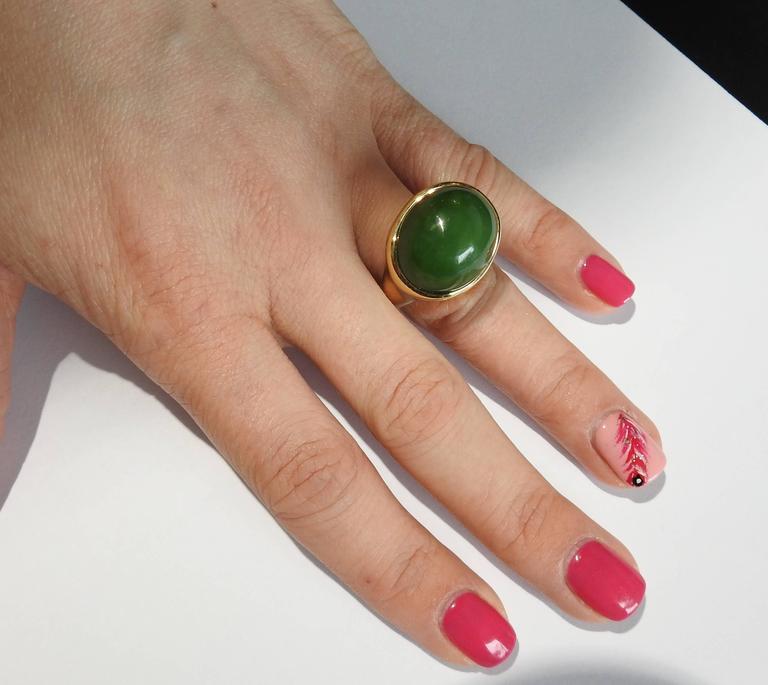 Tiffany & Co. Elsa Peretti Jade Gold Cabochon Ring  For Sale 2