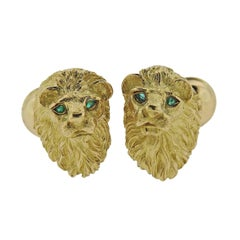 Tiffany & Co. Gold Emerald Lion Head Cufflinks