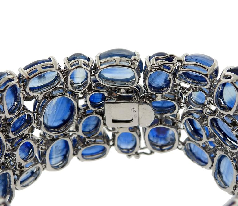 Women's Impressive Kyanite Cabochon Diamond Gold Bracelet For Sale