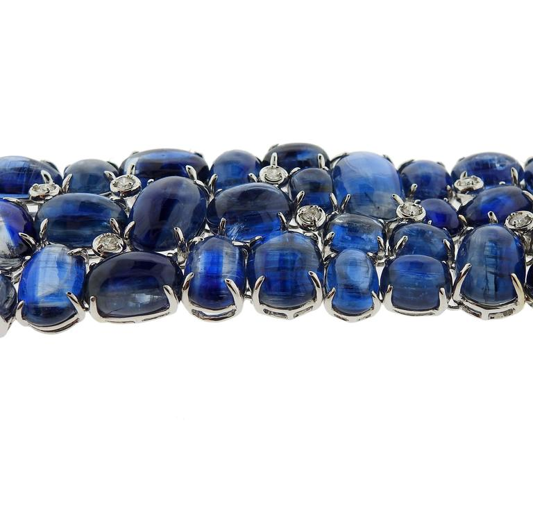 Impressive Kyanite Cabochon Diamond Gold Bracelet For Sale 2