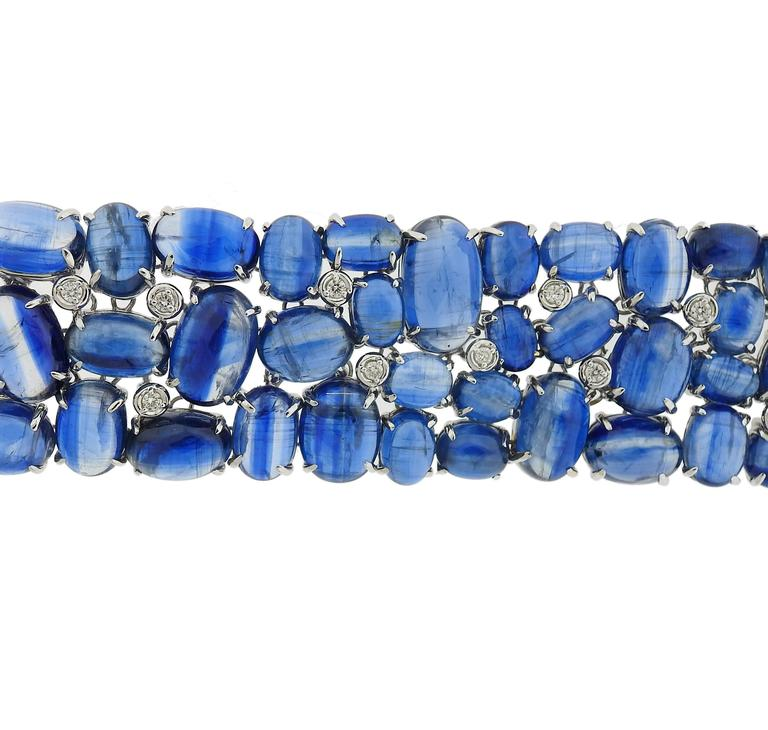 Impressive Kyanite Cabochon Diamond Gold Bracelet For Sale 1