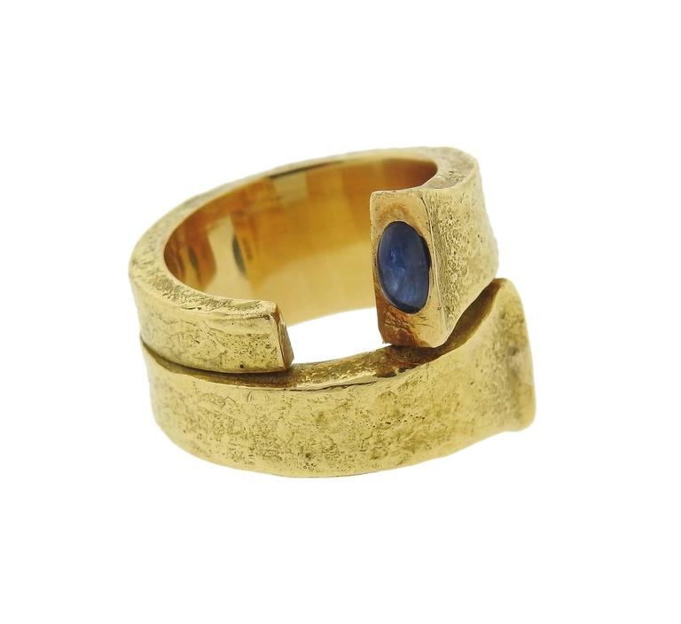 David Webb Iconic Sapphire Gold Rustic Nail Ring For Sale 1